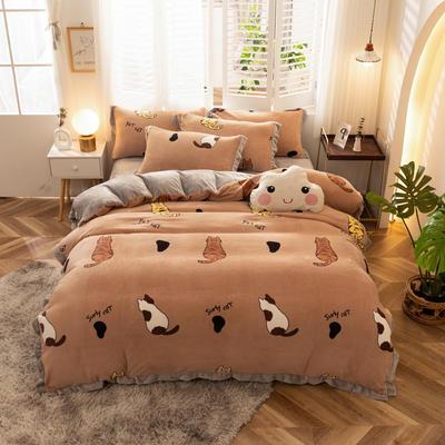 2020新款-牛奶绒印花四件套 1.5m床单款四件套 猫咪庭院-棕