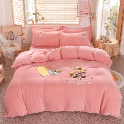 2020新款-宝宝牛奶绒毛巾绣加厚四件套 1.2m床单款三件套 小雏菊-玉色