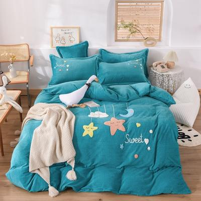 2020新款-宝宝牛奶绒毛巾绣加厚四件套 1.2m床单款三件套 星空宝贝-孔蓝