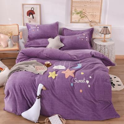 2020新款-宝宝牛奶绒毛巾绣加厚四件套 1.2m床单款三件套 星空宝贝-紫色