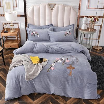 2020新款-宝宝牛奶绒毛巾绣加厚四件套 1.2m床单款三件套 中国结-灰色
