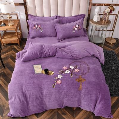 2020新款-宝宝牛奶绒毛巾绣加厚四件套 1.2m床单款三件套 中国结-紫色