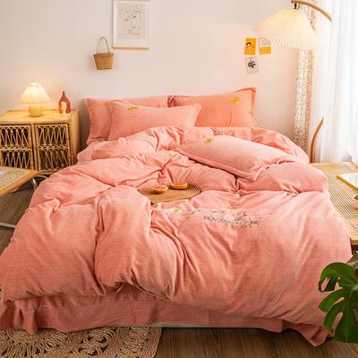 2020新款-肌理纹牛奶绒刺绣四件套 1.8m床单款四件套 小雏菊-粉色