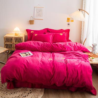 2020新款-肌理纹牛奶绒刺绣四件套 1.8m床单款四件套 小雏菊-玫红