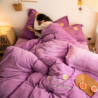 2020新款-肌理纹牛奶绒刺绣四件套 1.8m床单款四件套 小雏菊-魅紫