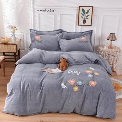 2020新款-牛奶绒毛巾绣四件套 1.5m床单款四件套 花开朵朵灰色