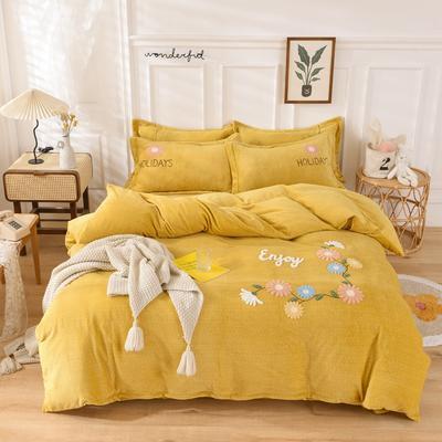 2020新款-牛奶绒毛巾绣四件套 1.5m床单款四件套 花开朵朵姜黄