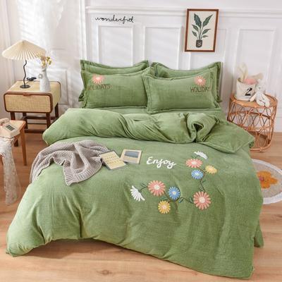 2020新款-牛奶绒毛巾绣四件套 1.5m床单款四件套 花开朵朵牛油果绿
