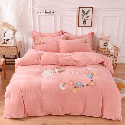 2020新款-牛奶绒毛巾绣四件套 1.5m床单款四件套 花开朵朵玉色