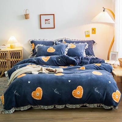 2020新款-韩版花边牛奶绒印花四件套 1.8m床单款四件套 爱心橙子
