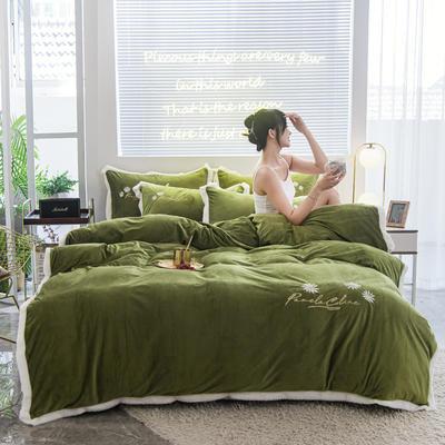 2020新款-铂晶绒绣花四件套 1.8m床单款四件套 小雏菊-草绿