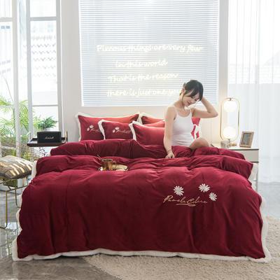 2020新款-铂晶绒绣花四件套 1.8m床单款四件套 小雏菊-大红