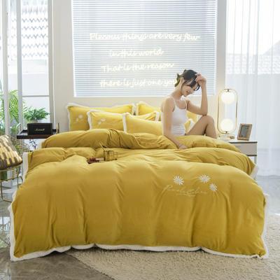 2020新款-铂晶绒绣花四件套 1.8m床单款四件套 小雏菊-黄