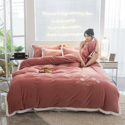 2020新款-铂晶绒绣花四件套 1.8m床单款四件套 小雏菊-西瓜红