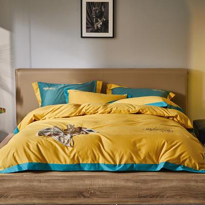 2020新款磨毛系列四件套 1.8m床单款四件套 柠檬黄