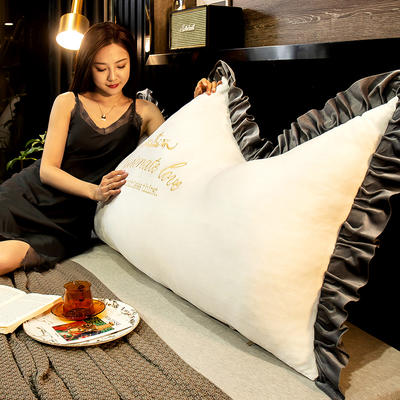 2020新款珍珠棉可拆卸刺绣大靠背床靠垫靠垫床靠背-幸运系列 90x70cm 幸运-米白