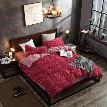 色织水洗双层纱四件套 标准(1.5m-1.8m床) 双红格