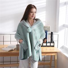 2018新款法莱绒+羊羔绒时尚披肩毯 65*170cm 抹茶绿