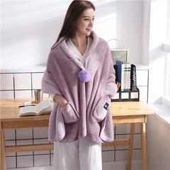 2018新款法莱绒+羊羔绒时尚披肩毯 65*170cm 藕粉色