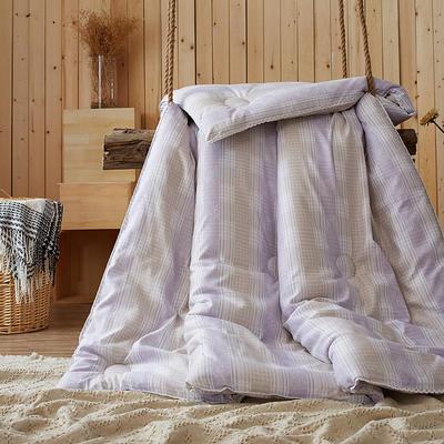 2016年圣艺莱新款冬被 摩卡暖绒被 紫格 200X230cm 紫格