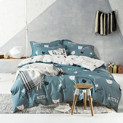 2018年春夏新品13376活性全棉四件套-猫咪宝贝-绿 1.5m(5英尺)床 花色