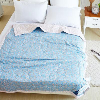 亲肤全棉棉花水洗夏被150*200 150x200cm 北欧之恋-蓝