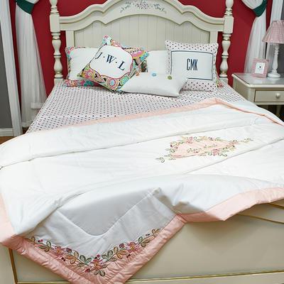 60长绒棉夏被-绣花 200X230cm 秘密花园-粉玉