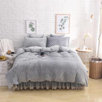 水晶绒夹棉四件套床裙款和床笠款(可单品购买) 标准(1.5m床)床裙款 淡灰色