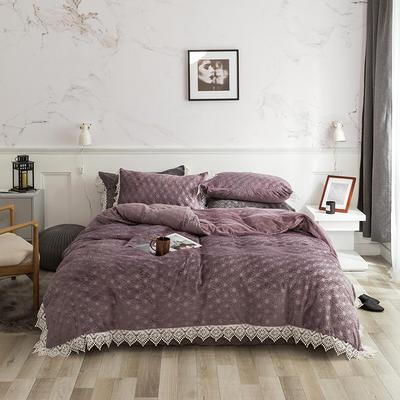 2019宝宝绒蕾丝花边床单系列四件套 1.5m床单款四件套 淡雅紫