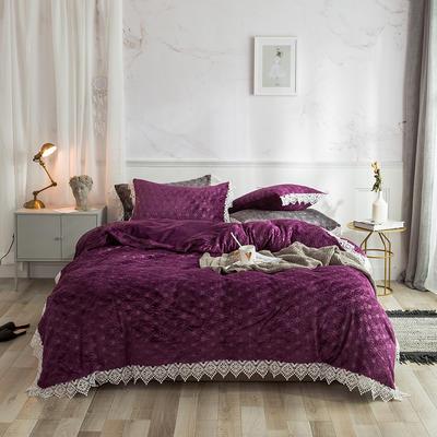 2019宝宝绒蕾丝花边床单系列四件套 1.5m床单款四件套 魅力紫