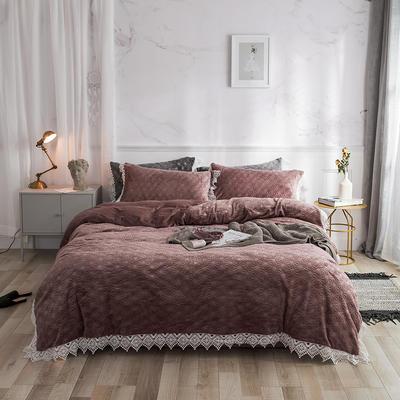 2019宝宝绒蕾丝花边床单系列四件套 1.5m床单款四件套 甜蜜棕