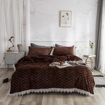 2019宝宝绒蕾丝花边床单系列四件套 1.5m床单款四件套 钻石咖