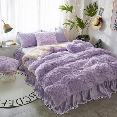 2019新款水貂绒床裙系列夹棉款四件套 1.2m床裙款三件套 紫色