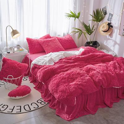 2019新款水貂绒床裙系列不夹棉款四件套 1.2m床裙款三件套 玫红色