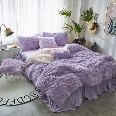 2019新款水貂绒床裙系列不夹棉款四件套 1.2m床裙款三件套 紫色