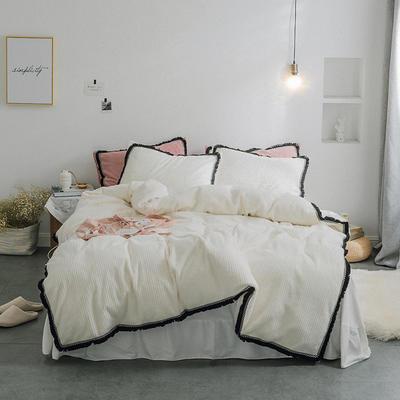 2019新款条纹水晶绒床单系列四件套 1.5m床单款四件套 条纹绒白色