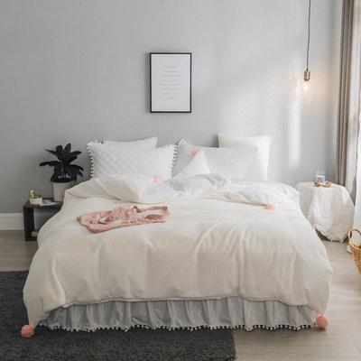 2019新款兔兔绒床裙系列夹棉款四件套 1.2m床裙款三件套 米白