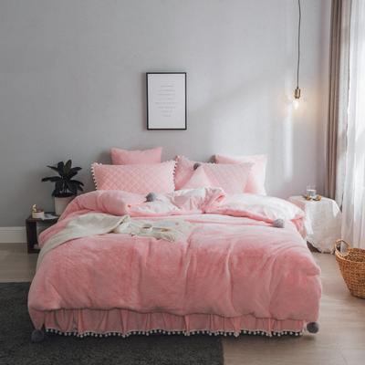 2019新款兔兔绒床裙系列夹棉款四件套 1.2m床裙款三件套 粉玉