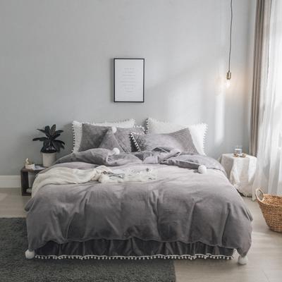 2019新款兔兔绒床裙系列夹棉款四件套 1.2m床裙款三件套 灰色
