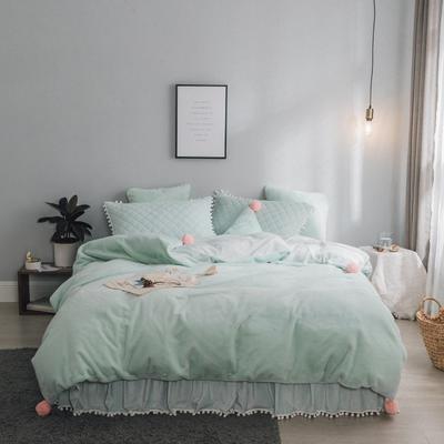 2019新款兔兔绒床裙系列夹棉款四件套 1.2m床裙款三件套 薄荷绿