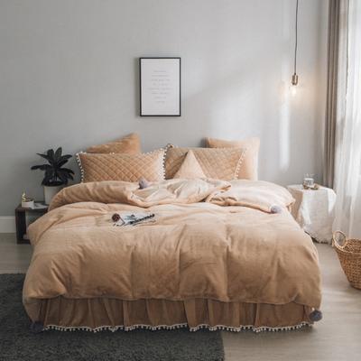 2019新款兔兔绒床裙系列夹棉款四件套 1.2m床裙款三件套 卡其色