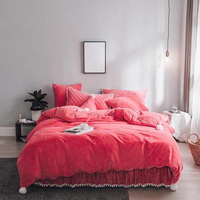 2019新款兔兔绒床裙系列夹棉款四件套 三角枕  含芯 红色