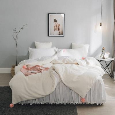 2019新款兔兔绒床裙系列不夹棉款四件套 1.2m床裙款三件套 米白