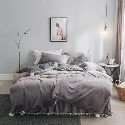 2019新款兔兔绒床裙系列不夹棉款四件套 1.2m床裙款三件套 灰色