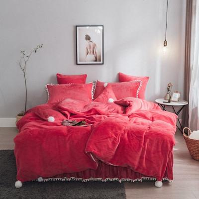 2019新款兔兔绒床裙系列不夹棉款四件套 三角枕  含芯 红色