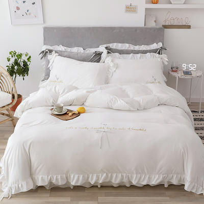 2019新款水晶绒馨朵系列四件套 1.5m床裙款四件套 白色