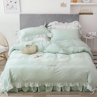 2019新款水晶绒馨朵系列四件套 1.5m床裙款四件套 薄荷绿