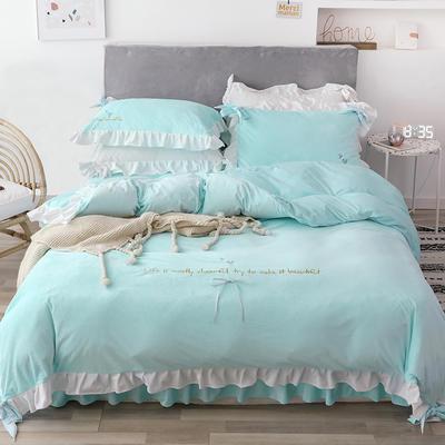 2019新款水晶绒馨朵系列四件套 1.5m床裙款四件套 蓝色