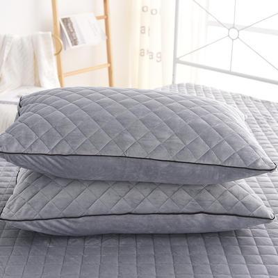 2019新款水晶绒单枕套 48cmX74cm/一对 淡灰色
