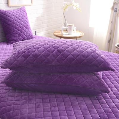 2019新款水晶绒单枕套 48cmX74cm/一对 紫色